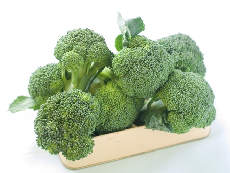 Fresh green broccoli on light background, selective focus Stockfoto