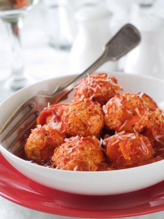 Meat balls in tomato sauce with cheese, selective focus Stock Photo - 16063210