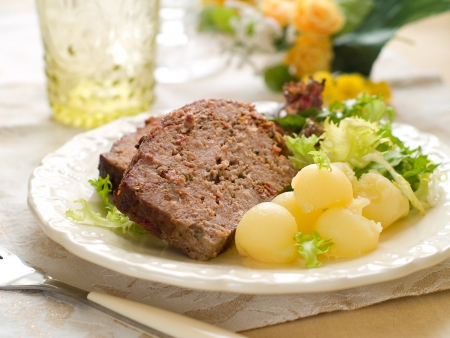 Meatloaf slices with potatoes for dinner, selective focus Stock Photo - 17331082