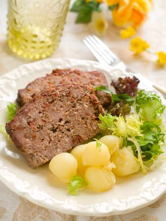 Meatloaf slices with potatoes for dinner, selective focus Stock Photo - 17575729