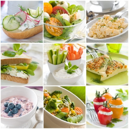 scrambled: Collage of different healthy breakfast photos Stock Photo