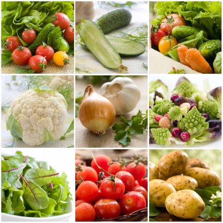Collage of different fresh vegetables photos  photo