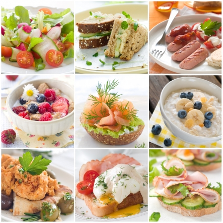 Collage of different healthy breakfast photos  Stockfoto