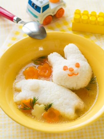 baby food: Chicken soup with rice rabbit, selective focus.  Shot for a story on homemade, organic, healthy baby foods.  Stock Photo