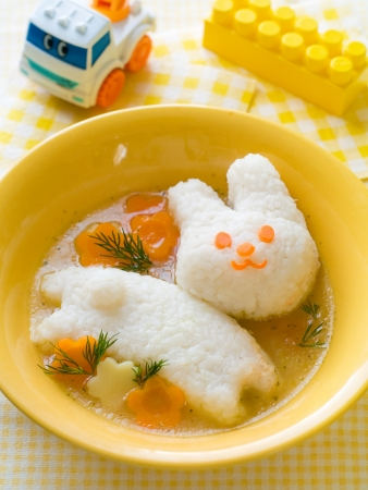baby rice: Chicken soup with rice rabbit, selective focus   Shot for a story on homemade, organic, healthy baby foods   Stock Photo