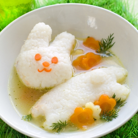 baby rice: Chicken soup with rice rabbit, selective focus.  Shot for a story on homemade, organic, healthy baby foods.  Stock Photo