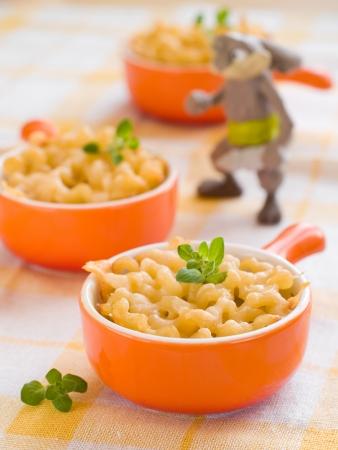 Mac und Käse, Schuss für eine Geschichte über hausgemachte, organische, gesunde Babynahrung. Selektiver Fokus