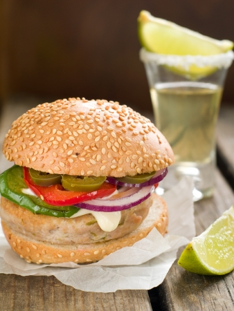 jalapeno pepper: Mexican hamburger with jalapeno pepper, selective focus  Stock Photo