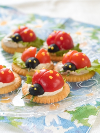 Cracker with cheese and tomato for summer party, selective focus  photo