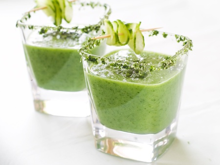 Fresh cold soup (gazpacho)in glass, selective focus Stock Photo