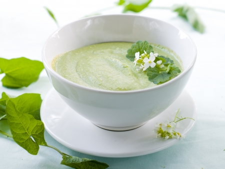vegetable soup: Pea cream soup in bowl, selective focus Stock Photo