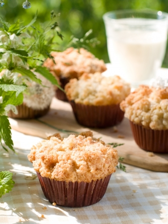 Sweet muffin with rhubarb, selective focus