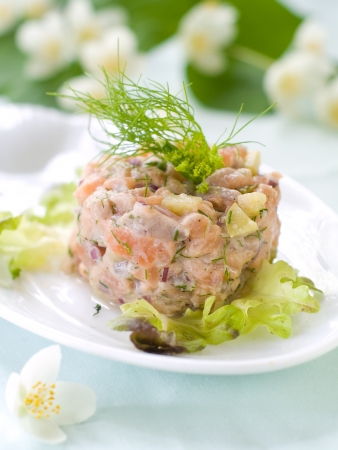 Salmon tartare with dill, selective focus photo