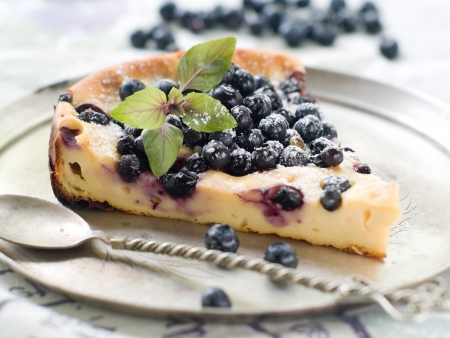 dessert plate: Slice of cake with blueberries, selective focus  Stock Photo