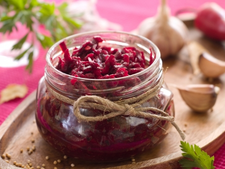Preserved beet in glass jar, selective focus Stock Photo