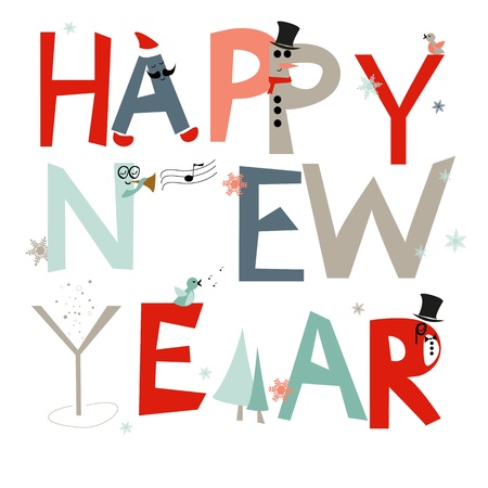 Greetings card with happy new year, vector, EPS10 Stock Illustratie