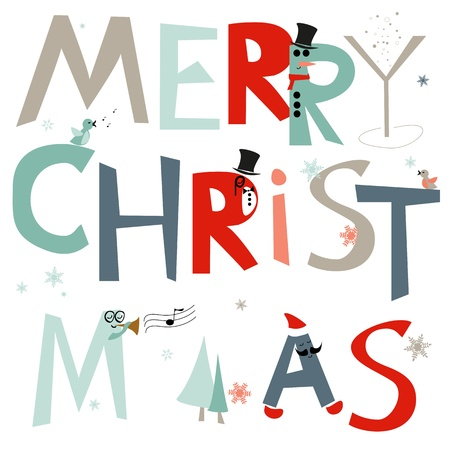 Greetings card with merry christmas, vector, EPS10