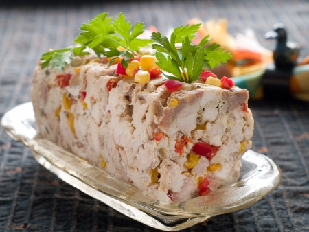 Chicken terrine with vegetables, selective focus