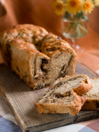 Sweet bread with chocolate and nuts, selective focus  photo