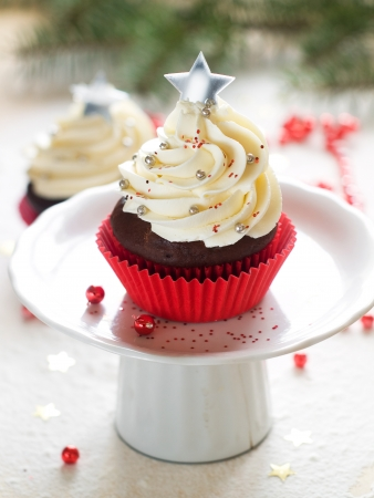 Gingerbread cupcake with christmas decoraton, selective focus Stock Photo - 23799777