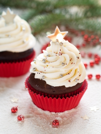 decoraton: Gingerbread cupcake with christmas decoraton, selective focus Stock Photo