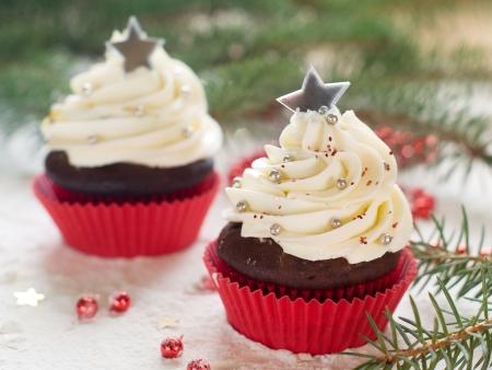 Gingerbread cupcake with christmas decoraton, selective focus Stock Photo - 23799779