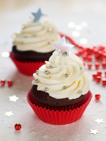 Gingerbread cupcake with christmas decoraton, selective focus Stock Photo - 23799780