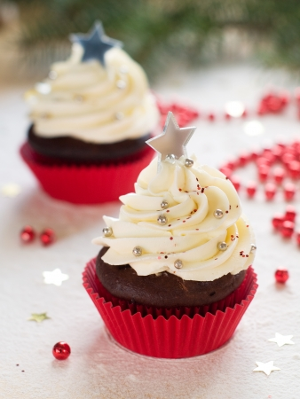 Gingerbread cupcake with christmas decoraton, selective focus Stock Photo - 23799781
