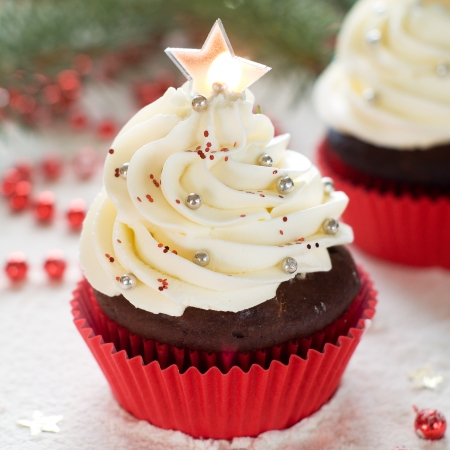 Gingerbread cupcake with christmas decoraton, selective focus Stock Photo - 23799785
