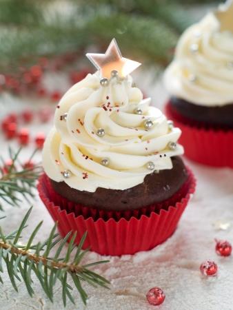 decoraton: Gingerbread cupcake with christmas decoraton, selective focus Stock Photo