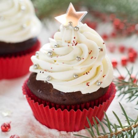 Gingerbread cupcake with christmas decoraton, selective focus Stock Photo - 23801585