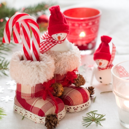 Christmas retro boots with snowman, selective focus  photo