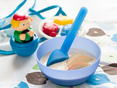 A bowl of porridge for baby. Shot for a story on homemade, organic, healthy baby food