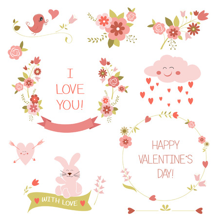 collection of  valentines day design elements Vector