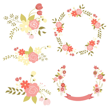 Set of floral bouquets, retro flowers  Vector