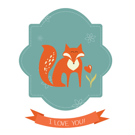 Background and greeting card with fox Vector