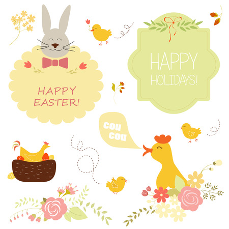 collection of easter design elements Vector