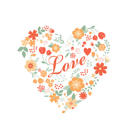 arranged: Floral arranged a shape of the heart, perfect for wedding invitations, mothers or birthday designs