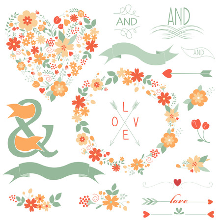 Floral graphic set with wreath, flowers, arrows, heart, robbon and labels.  Vector