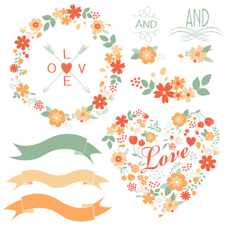 Floral graphic set with wreath, flowers, arrows, heart, robbon and labels.