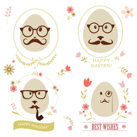 Set of greeting card with hipster easter egg Vector