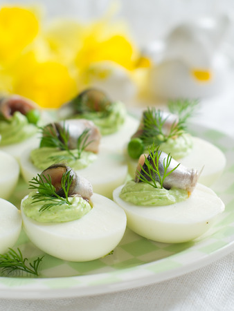 boiled eggs: Deviled eggs with anchovy for Easter