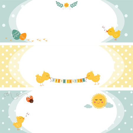 Three banners for easter with chicken and eggs Vector