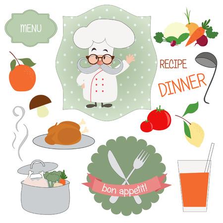 Cartoon food and chef, vector illustration Vector