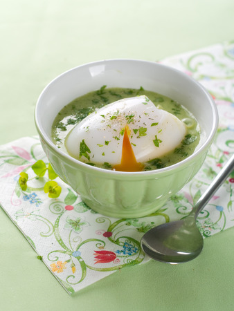 poached: Delicious vegetable cream soup with poached egg, selective focus