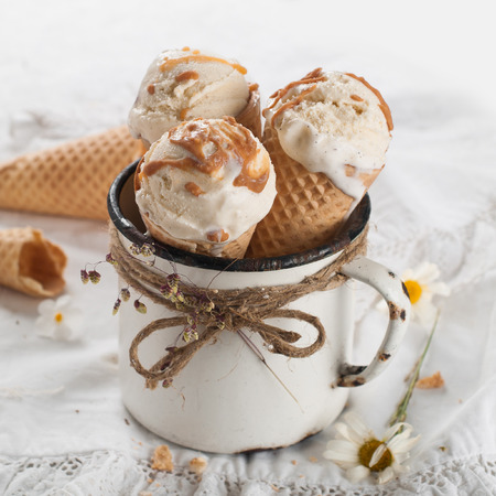 Ice cream cones in an old vintage mug photo