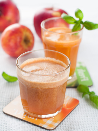 Glass of fresh fruit and vegetable juice, selective focus photo