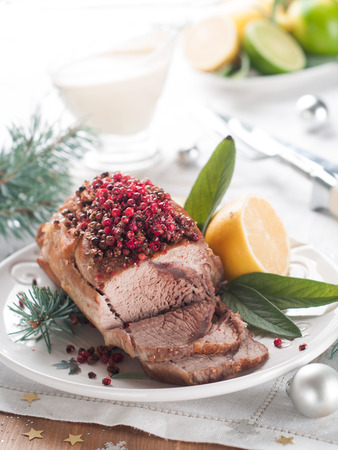 Meat with pink pepper for Holiday dinner, selective focus photo