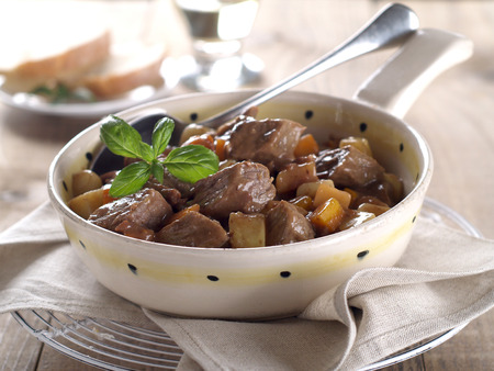 ragout: Beef and vegetables goulash (or ragout), selective focus