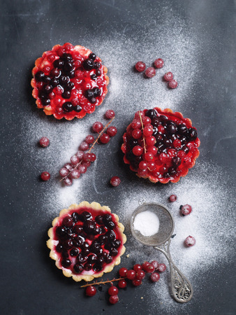 sugar powder: Berry tart on gray with sugar powder, selective focus